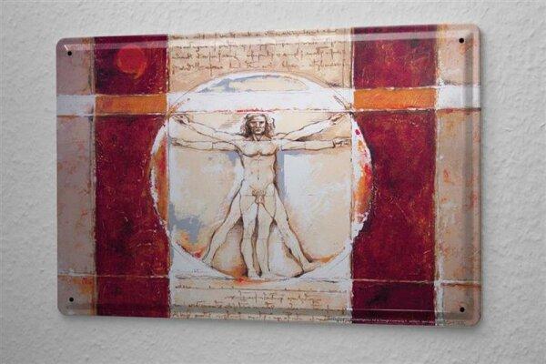 Blechschild Arkadiusz Warminski Vitruvianische Figur Mann Bild Quadratisch im Kreis 20x30 cm