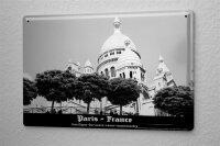Blechschild Dave Butcher schwarz weiß Foto Basilika Sacre Coeur Hügel Montmartre 20x30 cm