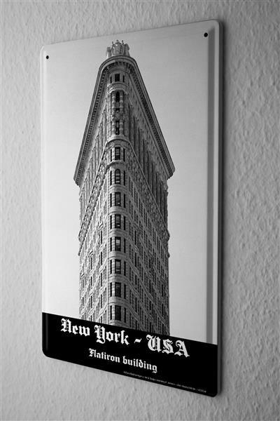 Blechschild Dave Butcher schwarz weiß Foto USA New York Flatiron Building 20x30 cm