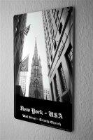 Tin Sign Dave Butcher black poster USA New York Trinity Church Wall Street,