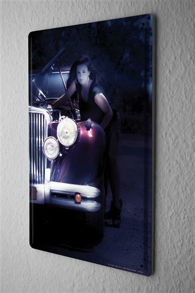 Blechschild Jorgensen Fotografie Foto Bilder Model Oldtimer Motorhaube Garage 20x30 cm