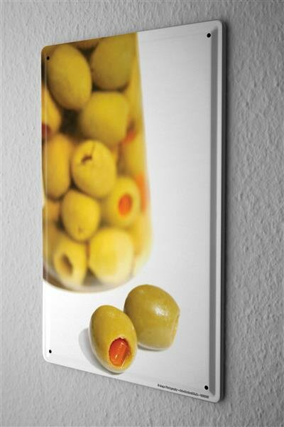 Blechschild Jorgensen Fotografie Foto Bilder Stillleben grüne Oliven Glas Flasche 20x30 cm
