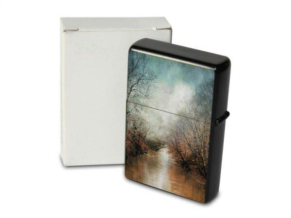 Pocket Windproof Lighter Brushed Oil Refillable Forest Brook