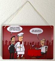 Tin sign Cartoon Holtschulte restaurant kitchen chef waiter wine