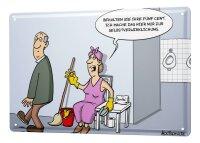 Blechschild Cartoon Holtschulte öffentliche Toilette Putzfrau Trinkgeld Klopapier Besen 20x30 cm