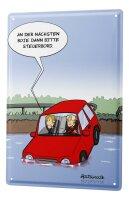 Tin sign Cartoon Holtschulte driving school car flow...